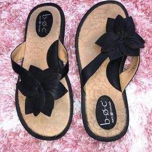 Black BOC Born Concept Flower Sandals